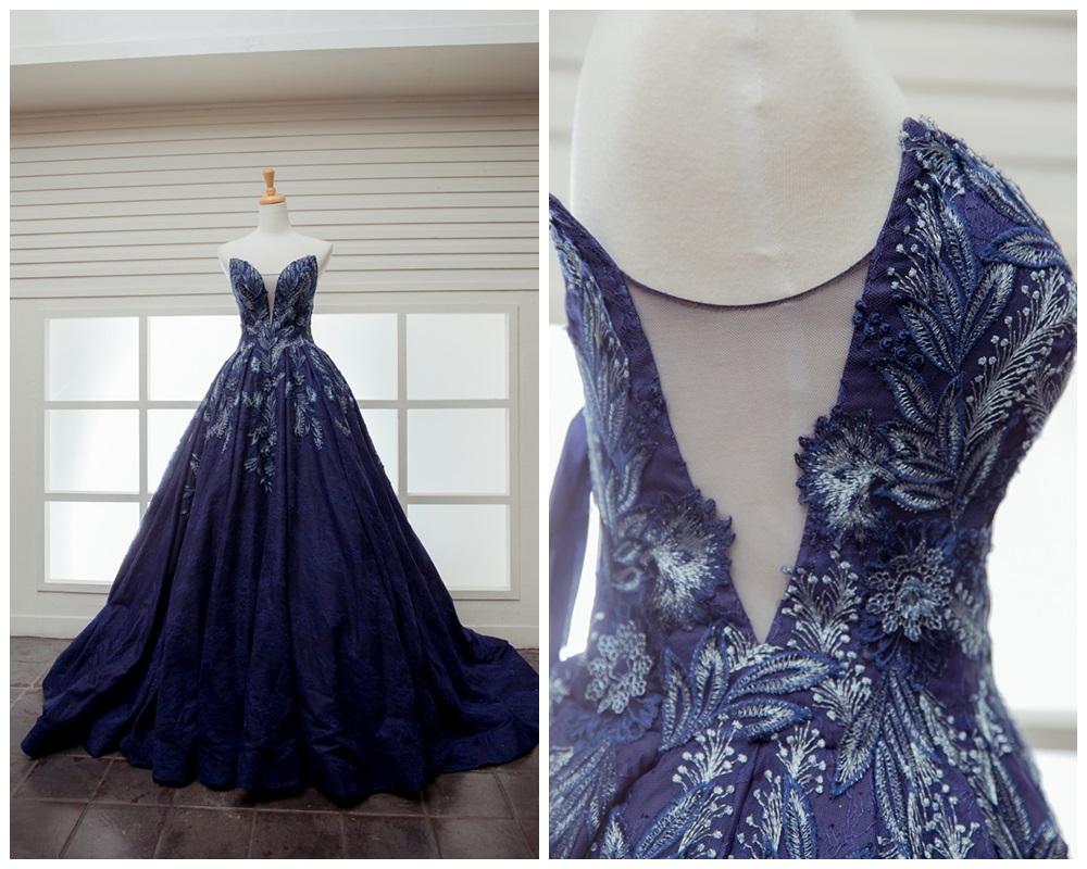 JOJO婚紗攝影-深藍刺繡晚禮服1